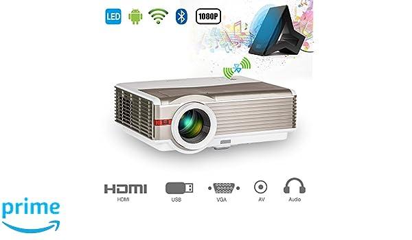 EUG 5000 lumen Proyector de Android Bluetooth HD Proyector de video Cine en casa 200
