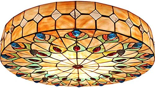 BTDH 20inch Vintage Tiffany Ceiling Light Stained Glass Colorful Chandelier Flush Mount Lighting Fixture Hand-Made for Home Bar Restaurant Hotel Cafe Dining Room Living Room Bedroom Hallway