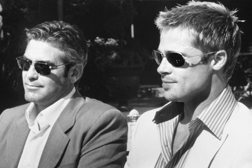 George Clooney Brad Pitt Ocean's Eleven wearing sunglasses looking cool 24X36 Poster