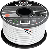 Mediabridge 14AWG 4-Conductor Speaker Wire (100 Feet, White) - 99.9% Oxygen Free Copper - ETL Listed & CL2 Rated for In-Wall Use (Part# SW-14X4-100-WH )