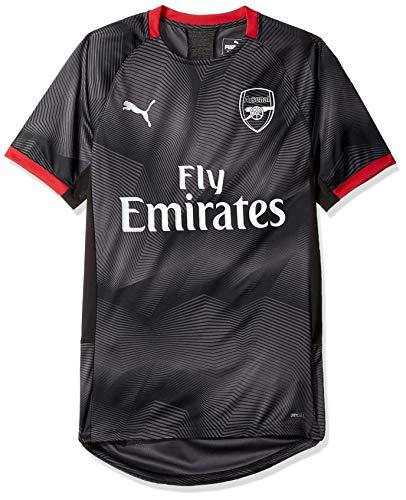 PUMA Men's Arsenal FC Graphic Jersey with EPL Sponsor Logo, Black/Chili Pepper, L