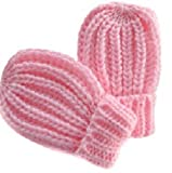 QBE Baby Boy Girl Knitted Mittens Gloves Mitts Size 0-12 months (Pink)