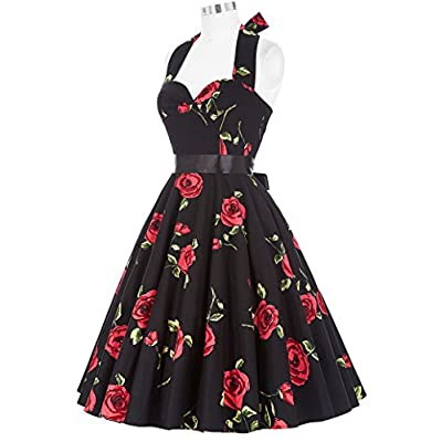 GRACE KARIN Women Vintage 1950s Halter Cocktail Party Swing Dress with Sash at Women's Clothing store