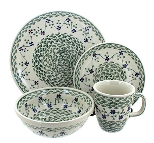 Polish Pottery Sage Floral 16 Piece Dinner Set