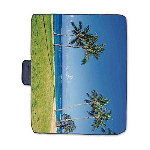 Hawaiian Decorations Stylish Picnic Blanket,Coconut Palm Trees and Lawn on The Sandy Poipu Beach in Hawaii Kauai Picture Mat for Picnics Beaches Camping,58