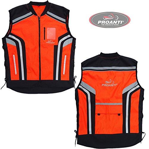 Motorrad Warnweste Sicherheitsweste Motorrad Quad Neon Weste von PROANTI® Größe XL