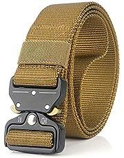 Erkek Kanvas Ağ Kemeri Ayarlanabilir Hızlı Açılan Metal Toka Dokuma Dokuma Rahat Pantolon Kot Askıları(Brown) -Sazoley