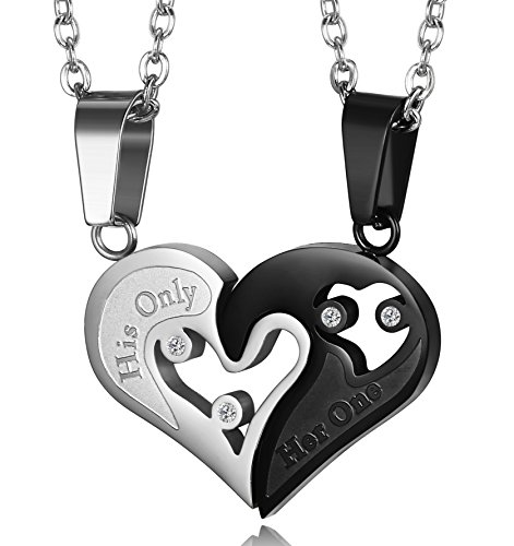 LOYALLOOK 2pcs His Only Her One Stainless Steel His and Hers Couple Necklace Love Heart CZ Puzzle Matching