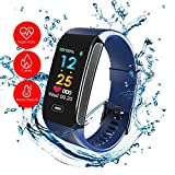 READ Sport Fitness Activity Tracker R18 Smart Watch Heart Rate Blood Pressure Sleep Monitor Watch Waterproof Call Message and SNS Sedentary Remind Watch for Android IOS (blue)