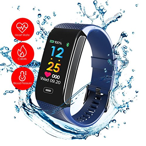 READ Sport Fitness Activity Tracker R18 Smart Watch Heart Rate Blood Pressure Sleep Monitor Watch Waterproof Call Message and SNS Sedentary Remind Watch for Android IOS (blue) by READ