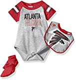 "NFL Infant ""Blitz"" Onesie, Bib and Bootie Set-Heather Grey-18 Months, Atlanta Falcons"
