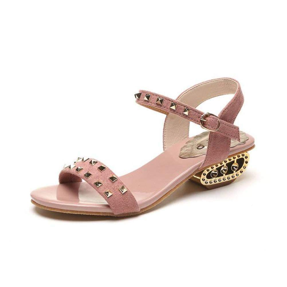 Pink EUR 35 UK 3 US 5 Women's Ladies Casual Lightweight Sandal shoes Slim Buckle LowHeeled Summer Beach Open Toe Rough Heels Rubber Sole Suede Upper Rivet Sandal Flip Flops for Women, WenMing