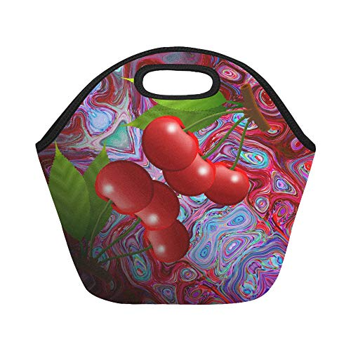 Insulated Neoprene Lunch Bag Cherry Isolated Fruit Nutrition Sweet Fruits Eat Large Size Reusable Thermal Thick Lunch Tote Bags For Lunch Boxes For Outdoors,work, Office, School ()