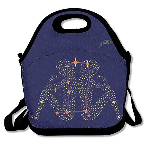- Pattonef Zodiac Sign Gemini Over Starry Sky Customized Insulated Neoprene Lunch Bag Unisex Suitable for Office Workers