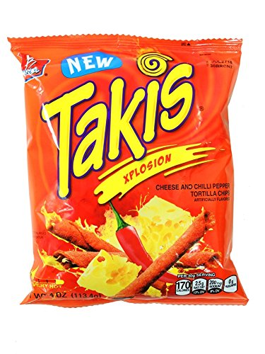 BARCEL TAKIS XPLOSION VERY HOT CHEESE AND CHILLI PEPPER TORTILLA CHIPS 4 oz Each ( 16 in a Pack ) by BARCEL TAKIS by Barcel