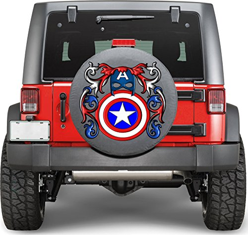 Superhero Captain America Sticker Full Color Spare Tire Cover Decal, Sticker Wheel Cover gc1628