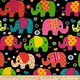 Windham Fabrics Winter Fleece Elephants Multi Fabric by The Yard, Multicolor