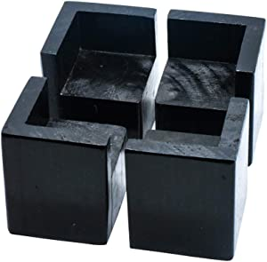 Pack of 4 Furniture Risers Square Black Bed Risers, Add 2