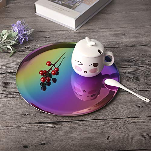 QBOSO Gradient Mirror Trays 11 Inch Stainless Steel Vanity Serving Plate Bathroom, Dresser, Kitchen, Jewelry Desk Décor (Colorful)