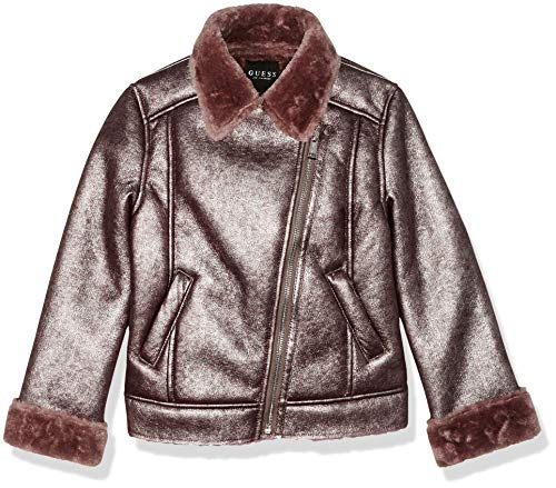 Guess Girls' Big Scattered Pearl Moto Jacket, Rosy Brown, 12