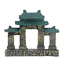 YXQ Aquarium Resin Ancient Temple Ruins Ornament Fish Tank Decoration