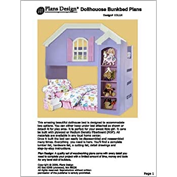 Children S Dollhouse Loft Bunk Bed Woodworking Plans Design 1dllh