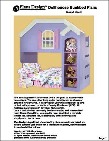 Children's Dollhouse Loft/bunk Bed Woodworking Plans -Design # 1DLLH