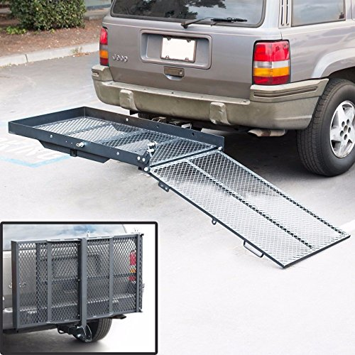 Folding Wheelchair Scooter Carrier Rack Disability Medical Lift Rack Ramp Hitch Mount ()