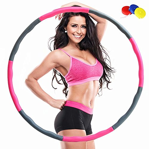 QSMYS Fitness Splicing Weighted Hula Hoop,8 Section Detachable Design,2 Pound,Slim Waist And Strong Abs,Soft Foam Padding For Comfort And Protection,Fun Exercise For Weight Loss (Pink and (Hula Hoop Waist)