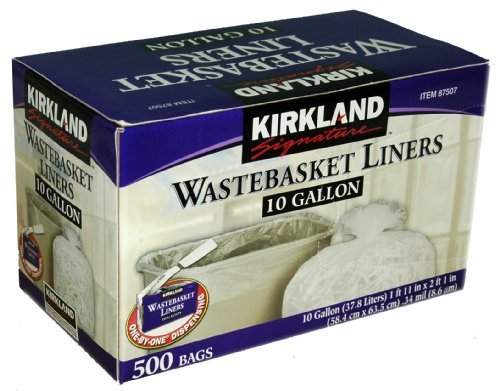 Kirkland Signature 10 Gallon Clear Wastebasket Liner 500 Cou