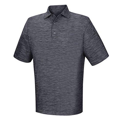 (FootJoy Men's Lisle Space Dyed Self Collar Shirt Navy Size Large)