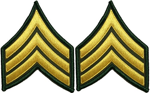 eant E-5 Stripes Army Uniform Chevrons Rank Sew on Iron on Arms Shoulder Embroidered Applique Patch - Gold on Green - By Ranger Return (RR-IRON-SERG-E503-GRGL-SET2) (Chevron Patch Set)