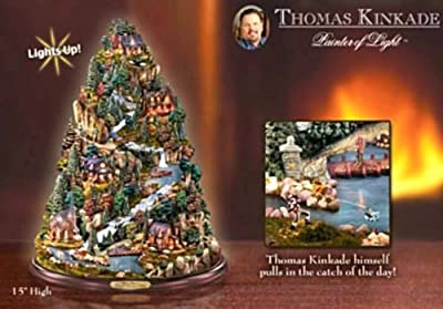 Thomas Kinkade Tranquil Mountain Village Tabletop Tree: Nature-Themed Home Decor by The Bradford Exchange