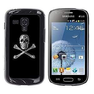 Shell-Star Arte & diseño plástico duro Fundas Cover Cubre Hard Case Cover para Samsung Galaxy S Duos / S7562 ( Skull Crystal Silver Crossbones Black )