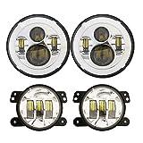 DOT Approved 7inch Jeep Daymaker LED Headlights + 4 inch Cree LED Fog Lights for Jeep Wrangler 97-2017 JK TJ LJ -Chrome