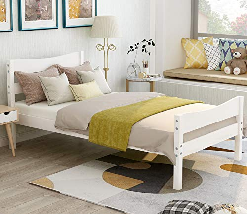 wood twin bed frame with headboard and footboard danxee platform bed frame mattress foundation with wooden slat support for kids teens white