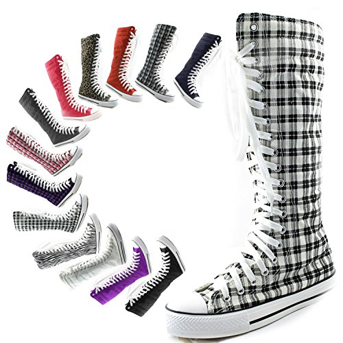 Calf Knee Flat Classic Grey Canvas Woman Punk up Stylish Wht High Lace Mid Sneaker Boots High Boots Tall Sky Plaid dq5fdYw