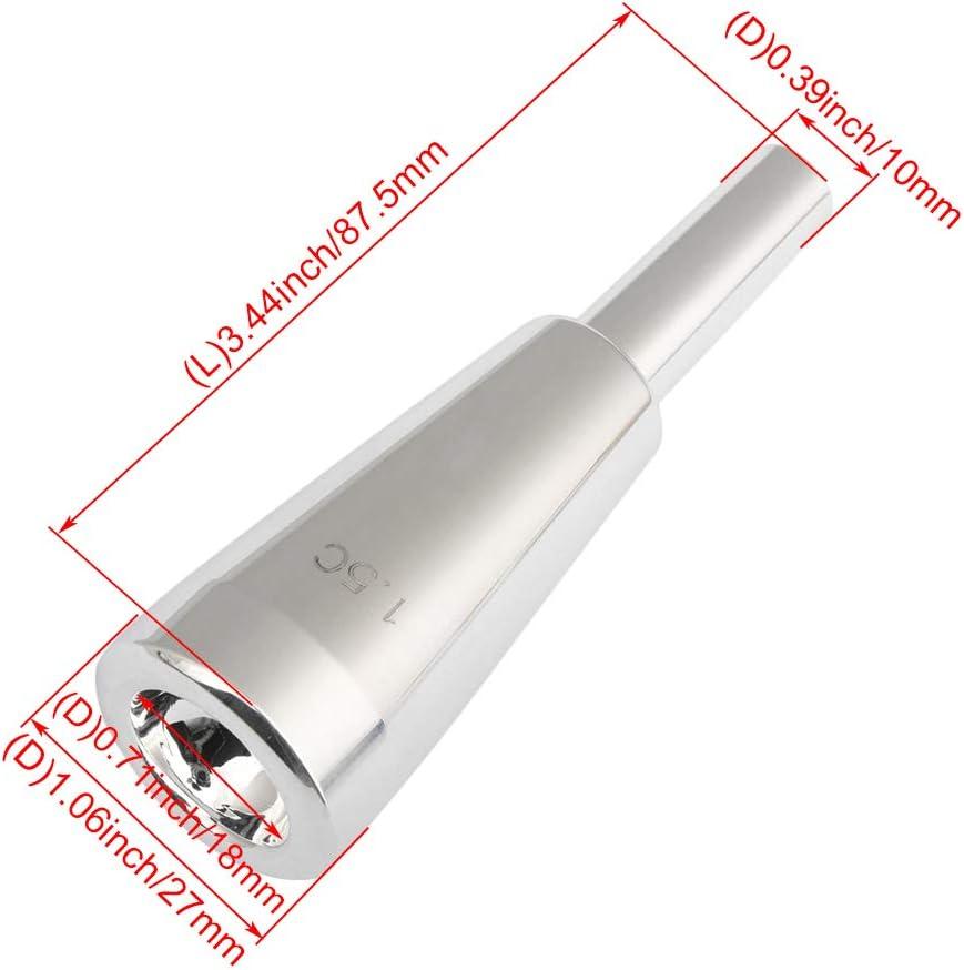 Mxfans 1.5 C Size Trumpet Mouthpiece Brass Silver-plated Heavy Bullet Shape