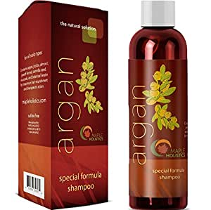 Argan Oil Shampoo, Sulfate Free, 8 oz. - With Argan, Jojoba, Avocado, Almond, Peach Kernel, Camellia Seed, and Keratin - 100% Safe for Color Treated Hair - For Men, Women, and Teens - All Hair Types - Most Beneficial Haircare Product Available