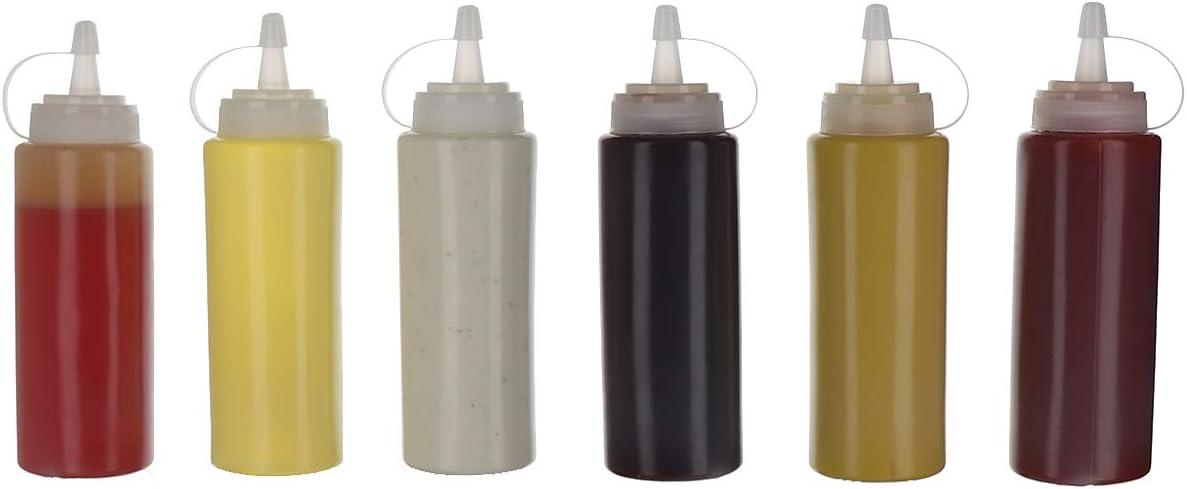 Juego de 6 botellas para condimentos y salsas, 414 ml, plástico, tapas de rosca, transparentes, sin bisfenol A