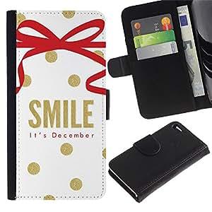 KingStore / Leather Etui en cuir / Apple Iphone 4 / 4S / Diciembre Navidad oro blanco;