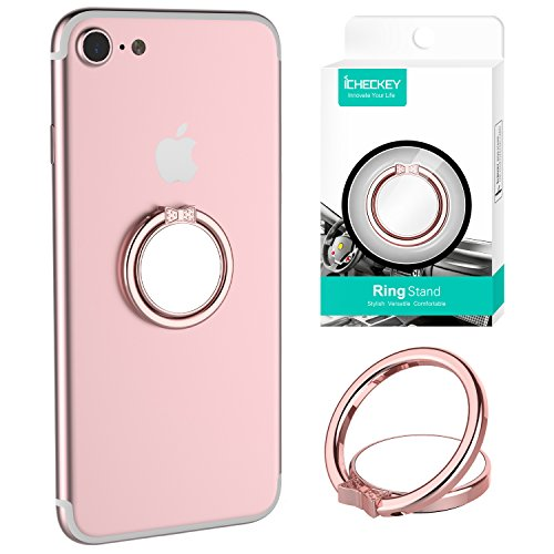 (ICHECKEY Smart Phone Ring Holder MIRROR SERIES Stylish 360° Adjustable Ring Stand Grip Mount Kickstand for iPhone 7/7 Plus, Galaxy S8/S8 Plus and Almost All Cases/Phones (Rose Gold))