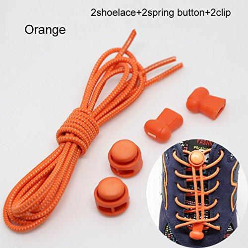 orange Schnürsenkel Laufschuh Keine Clips Stiefel Cleats Elastic oobest für Ersatz Binden Schuhe Sneakers mit OptBUnwRq