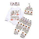 4Pcs Baby Thanksgiving Outfit Newborn Boy Girl Set Bodysuit Pants with Hat and Headband(0-3 Months)