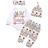 4Pcs Baby Thanksgiving Outfit Newborn Boy Girl Set Bodysuit Pants with Hat and Headband