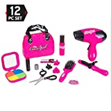 girl blow dryer - Big Mo's Toys Kids Beauty Salon Set, Stylish Girls Beauty Fashion Pretend Play Toy with Cosmetic Bag, Hairdryer, Curling Iron, Blush Pallet with Mirror, Lipstick & Styling Accessories, 12 Piece Set