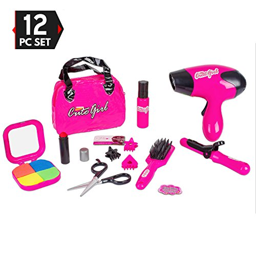 Princess Fashion Set (Big Mo's Toys Kids Beauty Salon Set, Stylish Girls Beauty Fashion Pretend Play Toy with Cosmetic Bag, Hairdryer, Curling Iron, Blush Pallet with Mirror, Lipstick & Styling Accessories, 12 Piece Set)