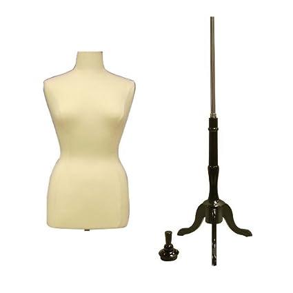 Female Plus Size Dress Form Body Form Mannequin (Size 14-16) with Base  (14/16, White Form + Black Base)
