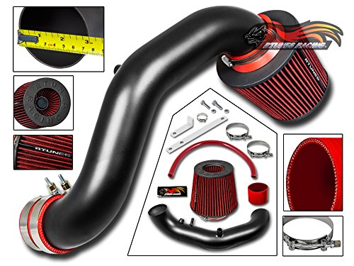 R&L racing MATT BLACK Short Ram Air Intake Kit + RED Filter For Acura 02-06 RSX BASE ONLY 2.0L ()