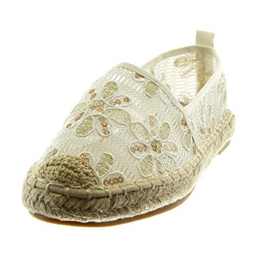 Verschluss Blumen Spitzendetail Damenmode Angkorly Ohne 2 Weiß Weich Blockabsatz cm 5 Espadrilles Schuhe Gestickt Z8IwqqT1